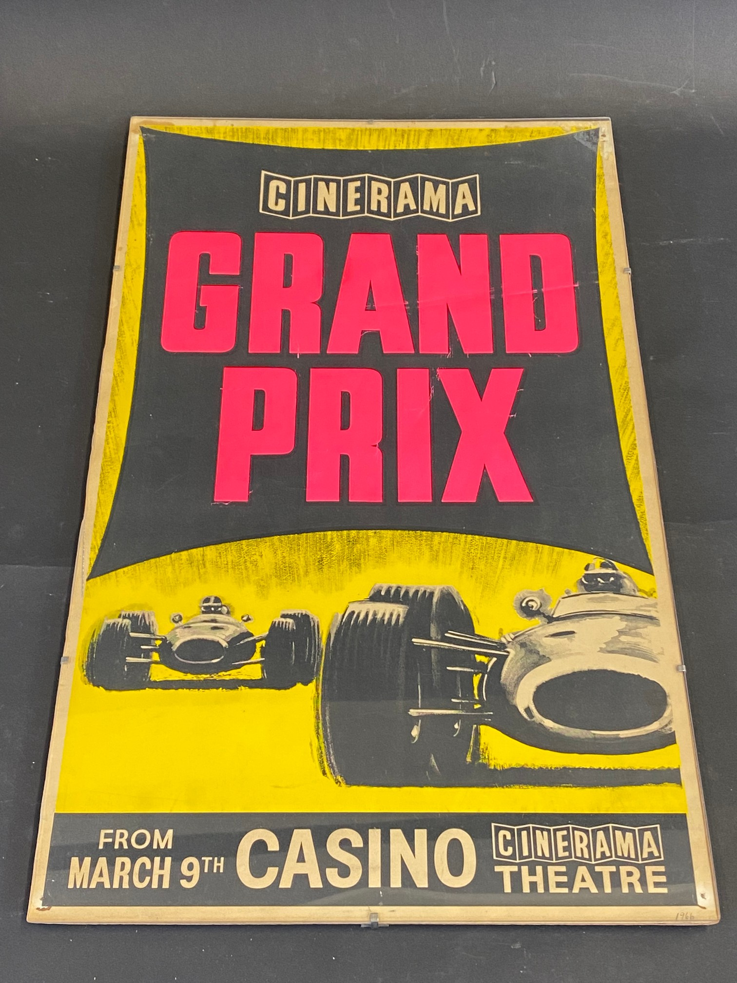 A rectangular pictorial cinema poster for the film 'Grand Prix' at the Cinerama theatre, 12 1/2 x 20