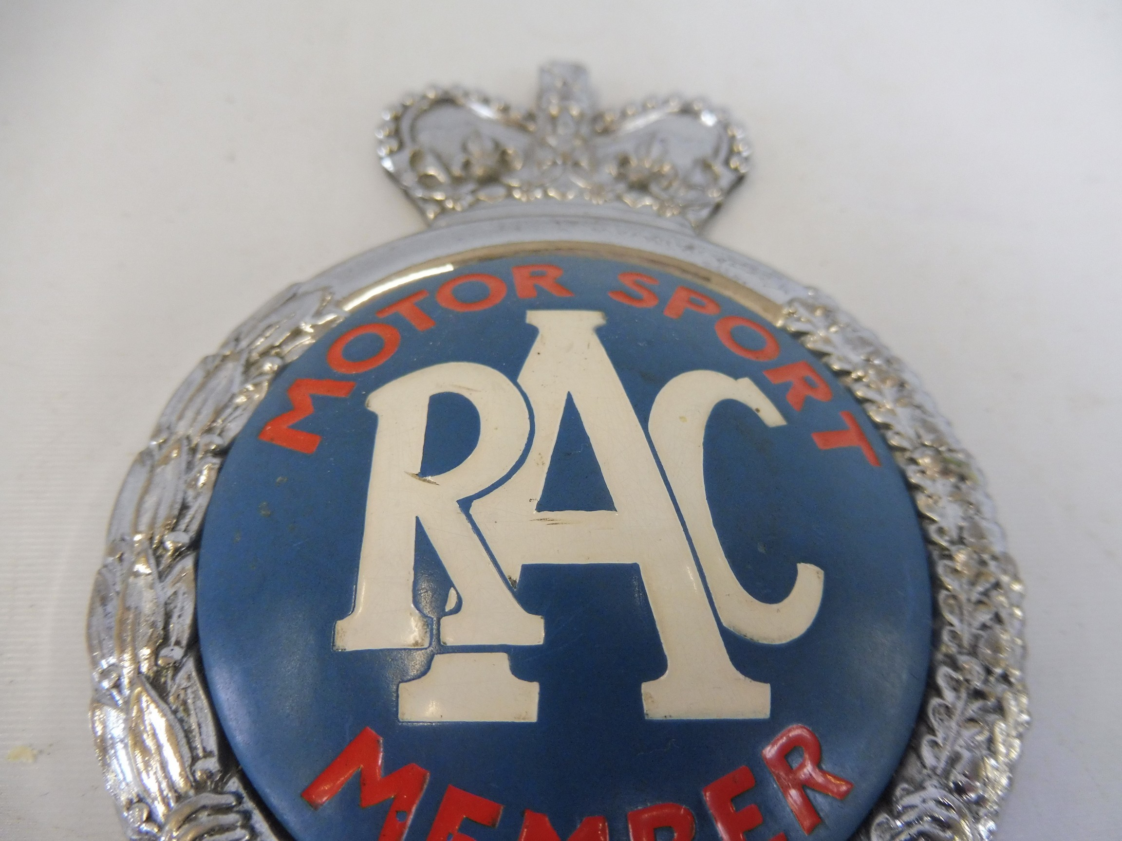 An RAC Motor Sport Member car badge, type 2A, 1955 - early 1960s, badge bar type, chrome plated - Image 2 of 3