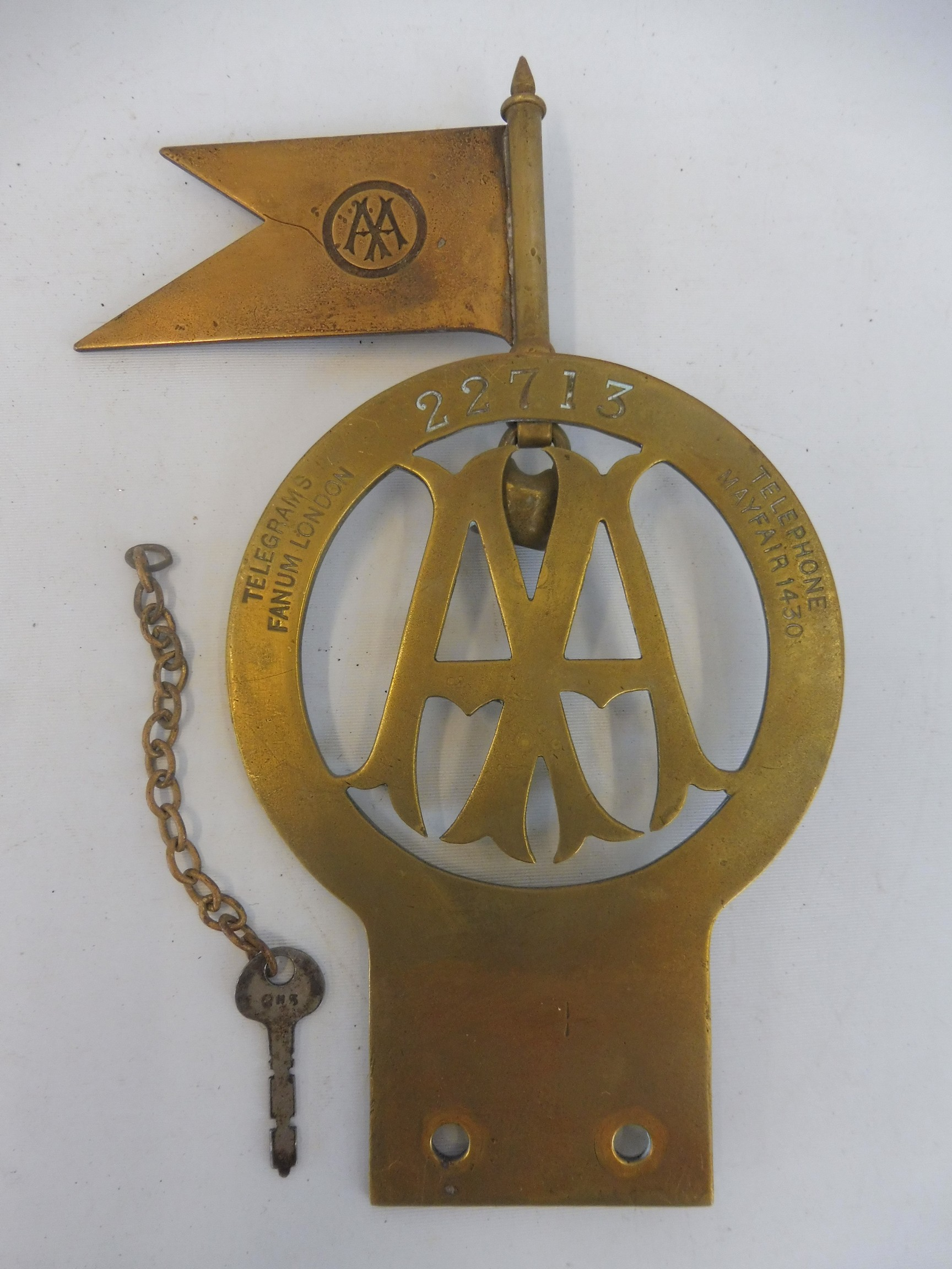 A very rare AA committee member Stenson Cooke badge, brass, with the highly unusual feature of - Image 3 of 3