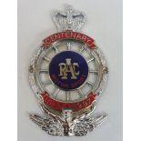 A boxed Royal Automobile Club Centenary Motor Sport member badge (1897-1997) produced 1997, chrome