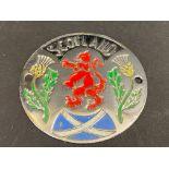 """A Scotland chrome plated circular badge, 2 3/4"""" diameter."""