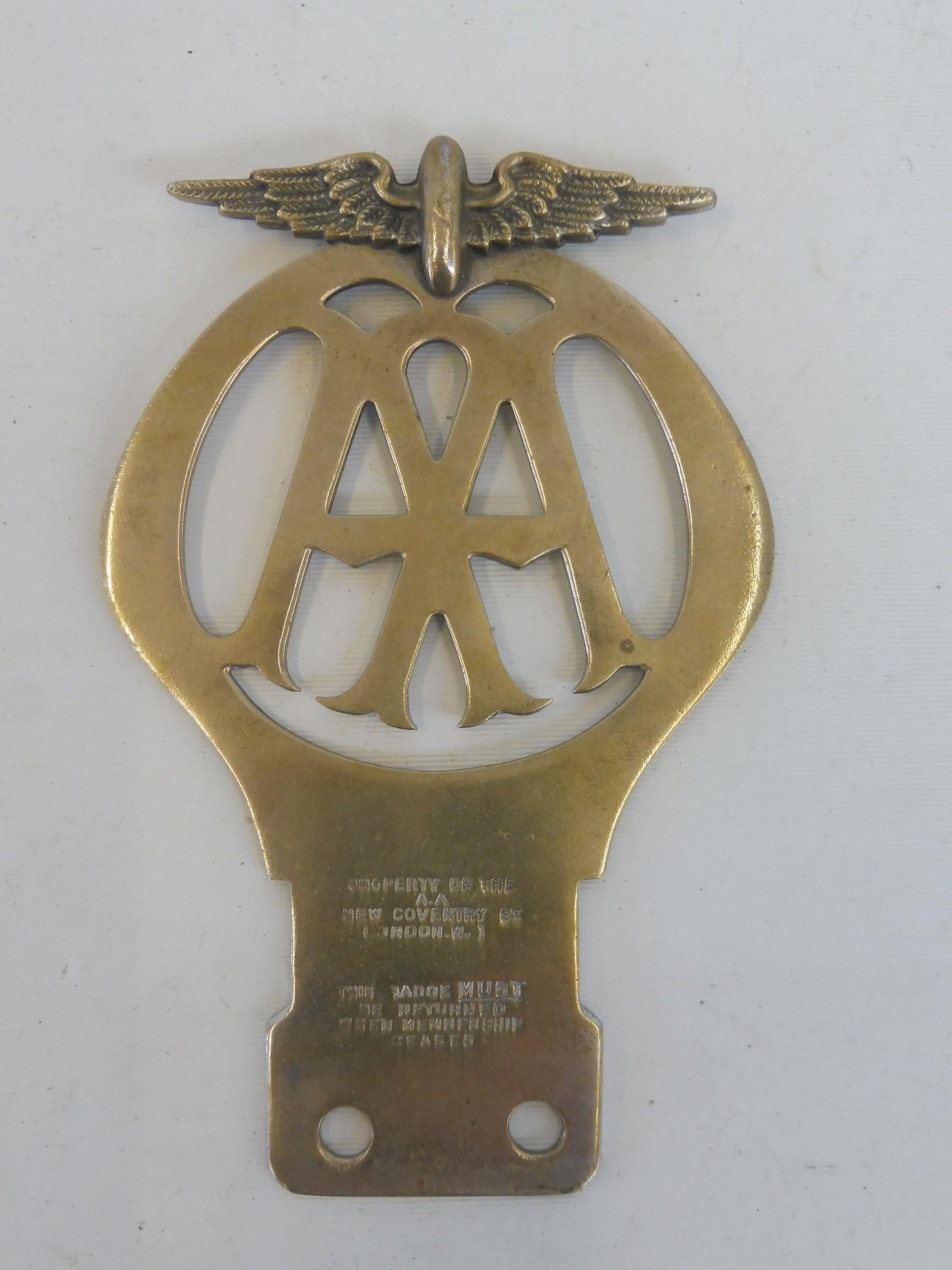 An AA Motorcycle badge, stamped 810156 May 1928-Nov 1929. - Image 2 of 2