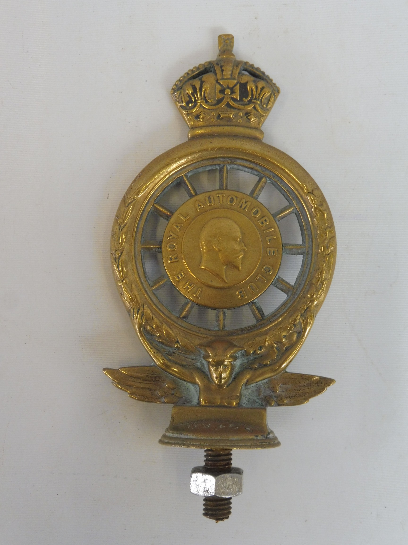 A Royal Automobile Club full member badge, open crown version type 5, plain brass with enamel - Image 4 of 4