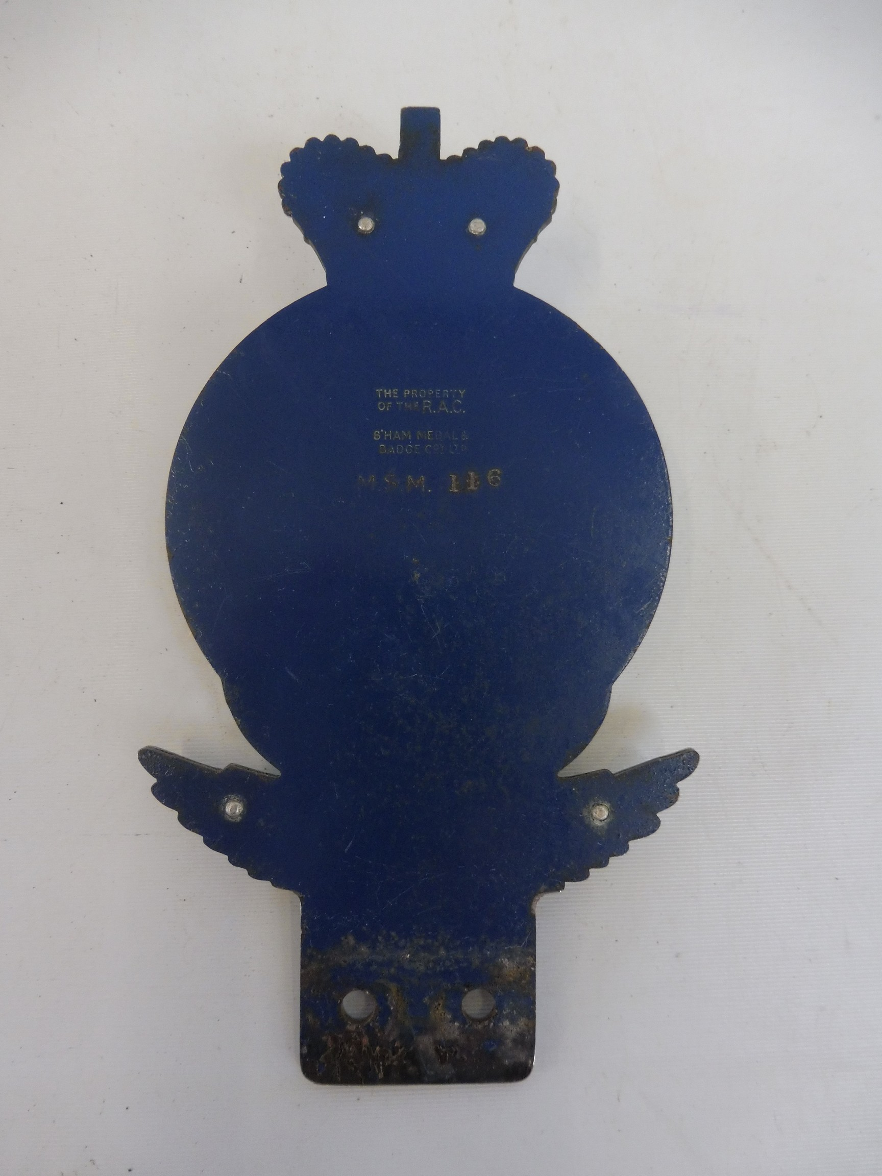 An RAC Motor Sport Member car badge, type 2A, 1955 - early 1960s, badge bar type, chrome plated - Image 3 of 3