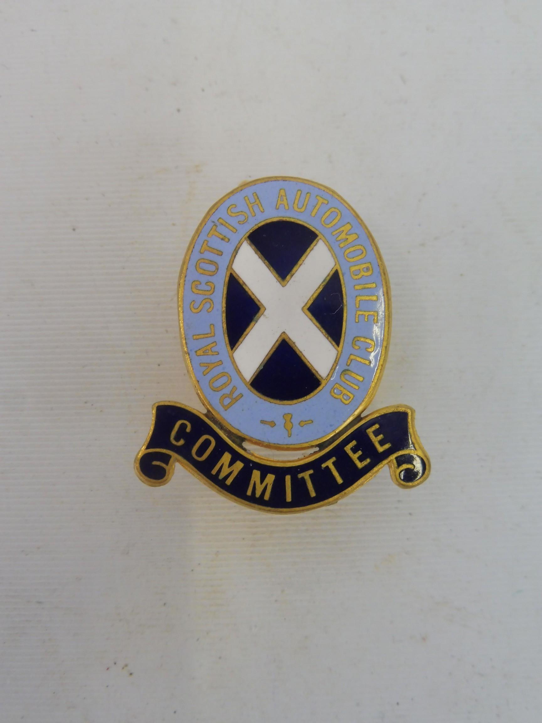 A Royal Scottish Automobile Club 'Committee' enamel lapel badge.