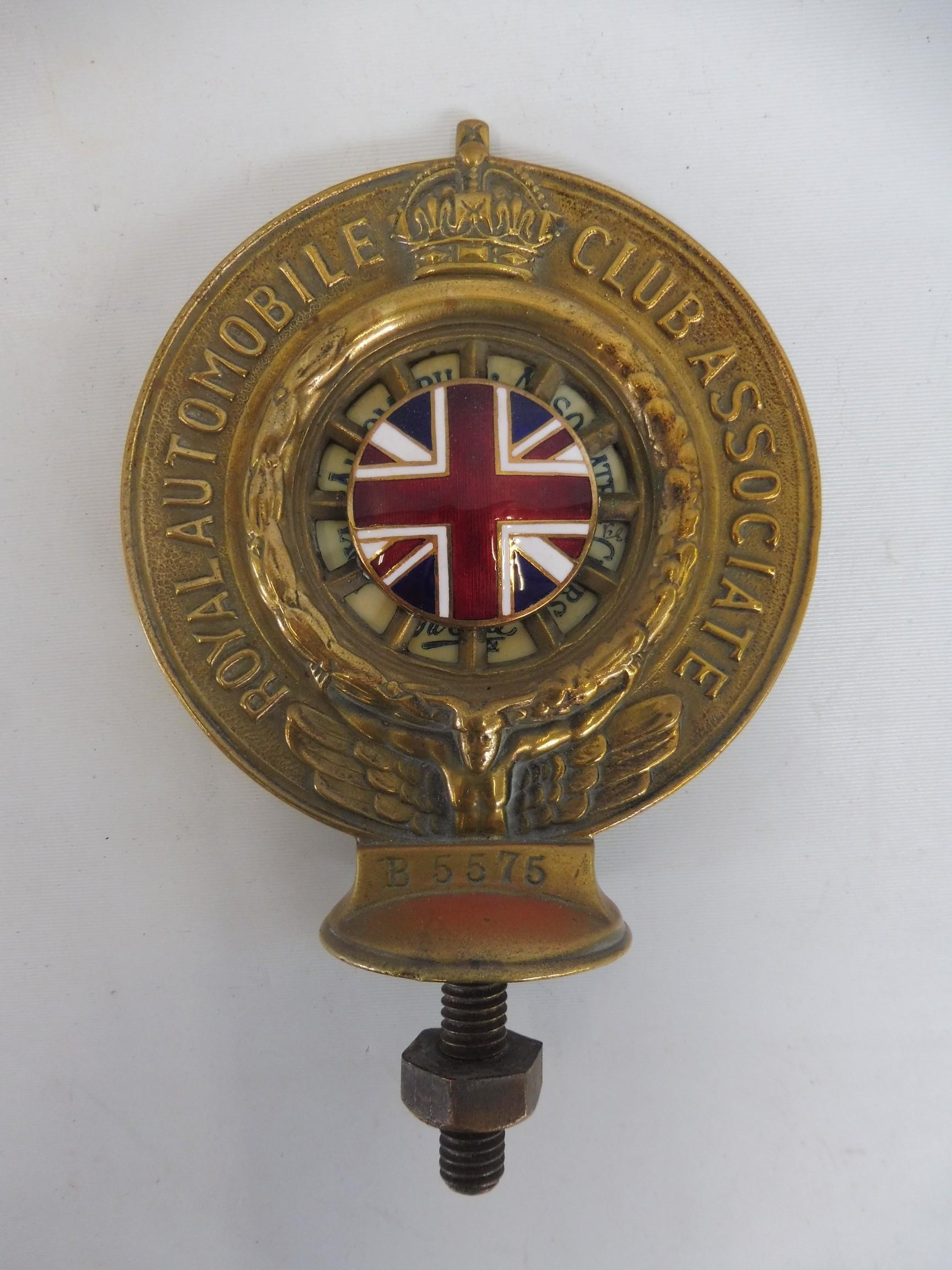 A Royal Automobile Club Associate car badge, polished brass with excellent enamel union jack centre,