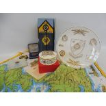 A boxed Spode AA 75th Anniversary porcelain lidded pot, a Spode anniversary plate, an AA related tea