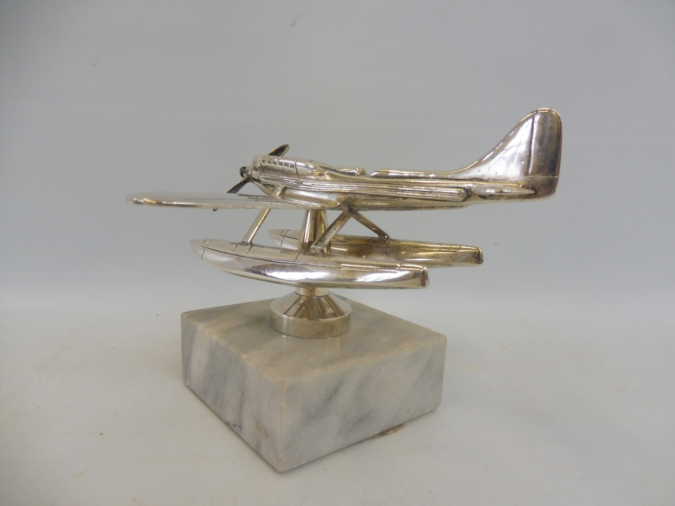 A Schneider Trophy seaplane supermarine mascot, nickel plated, inscribed 'Rolls-Royce' under one - Image 3 of 6