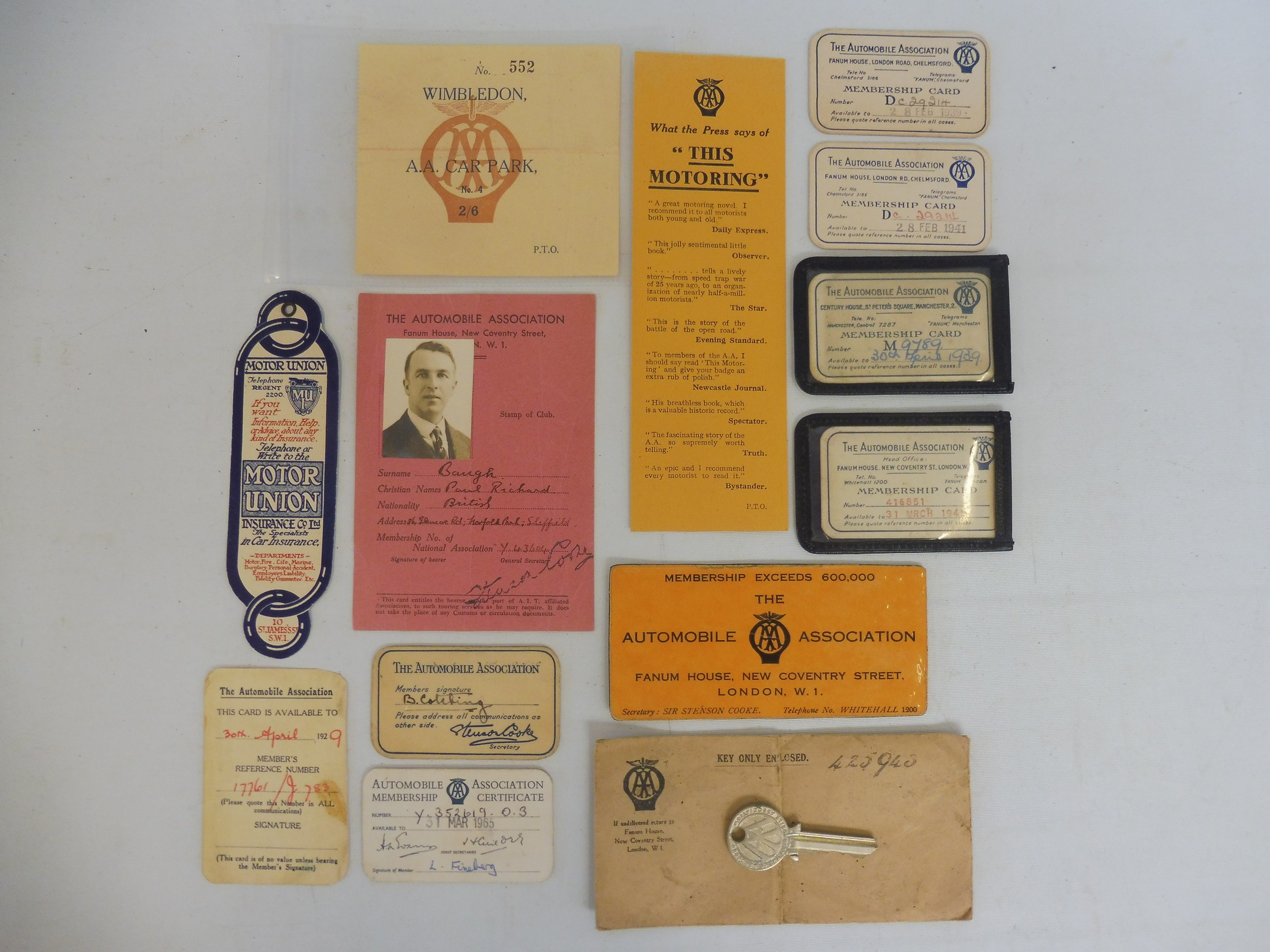 A small collection of AA ephemera including a Wimbledon AA Car Park ticket, membership tickets,