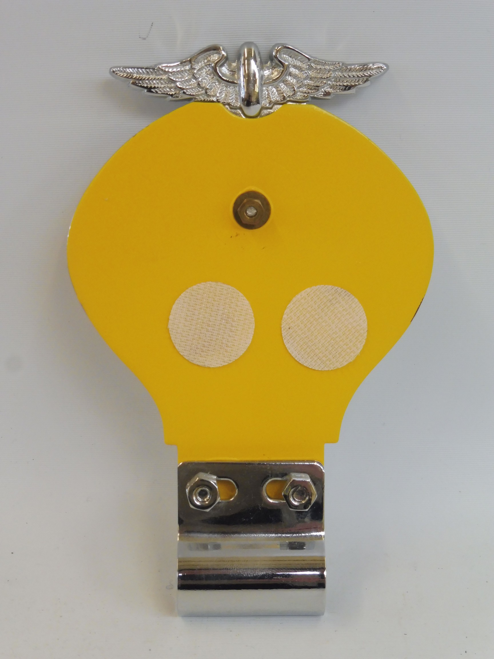 An early yellow back AA badge with centre screw, badge bar mounting, stamped 45777H, May 1934- - Image 2 of 2