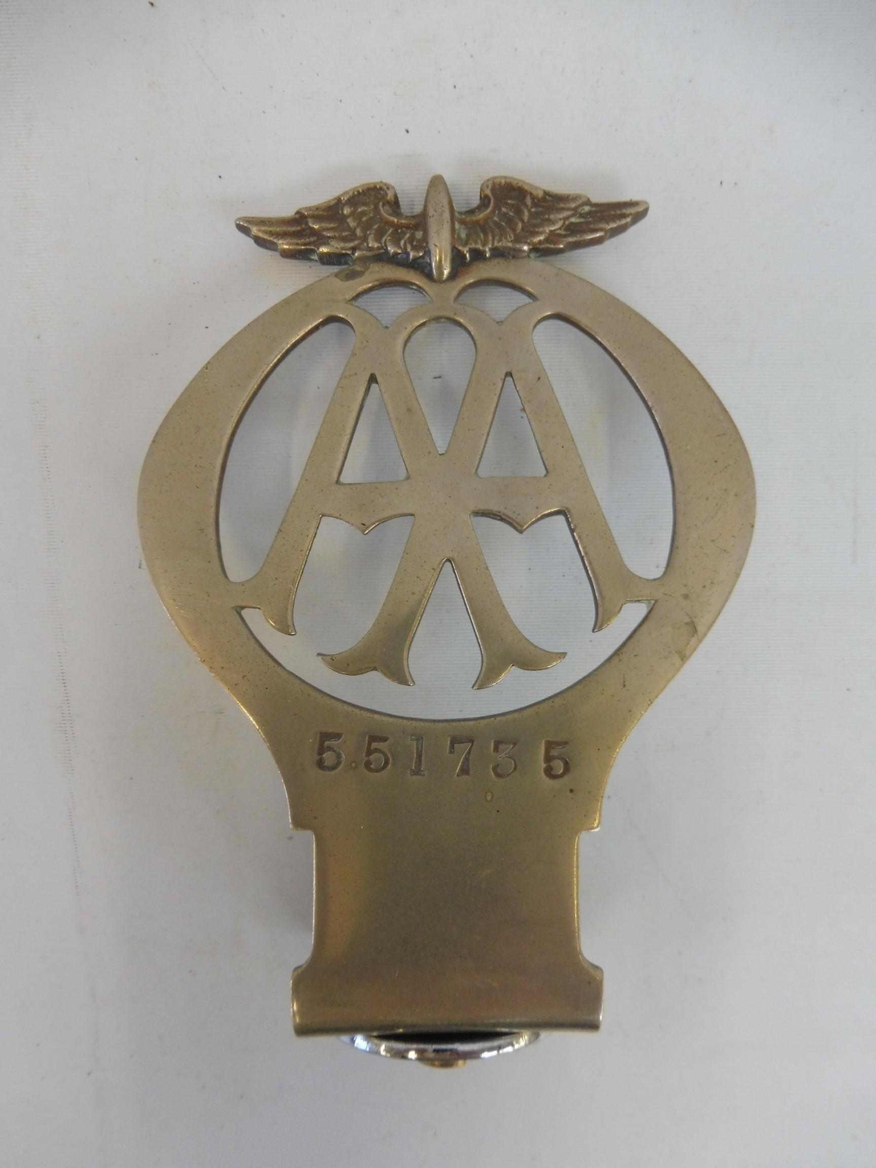 An AA type 2A car badge, nickel, no. 551735, Feb 1924 - July 1926.