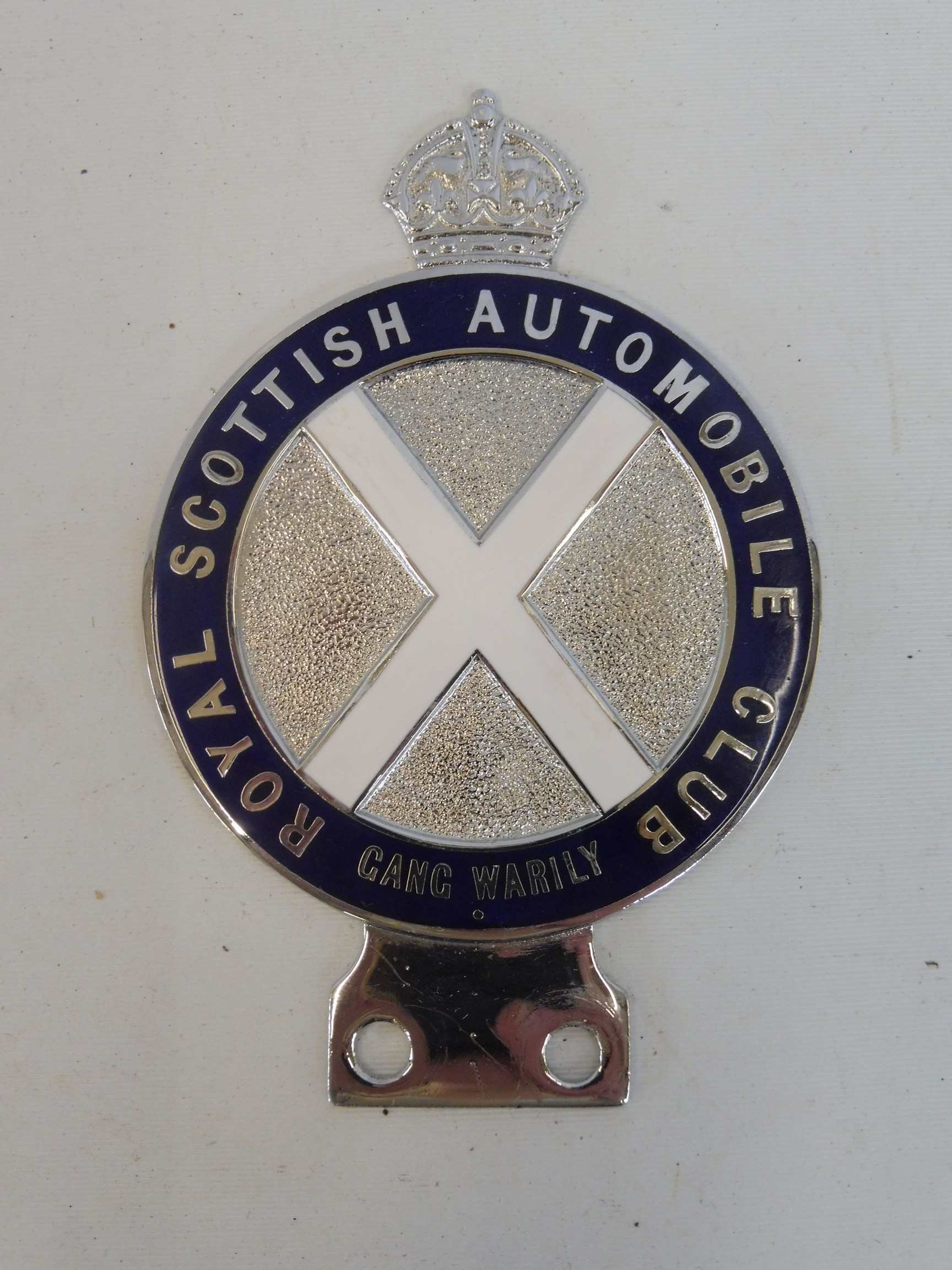 A Royal Scottish Automobile Club chrome plated and enamel badge type 5 bearing the legend 'Gang