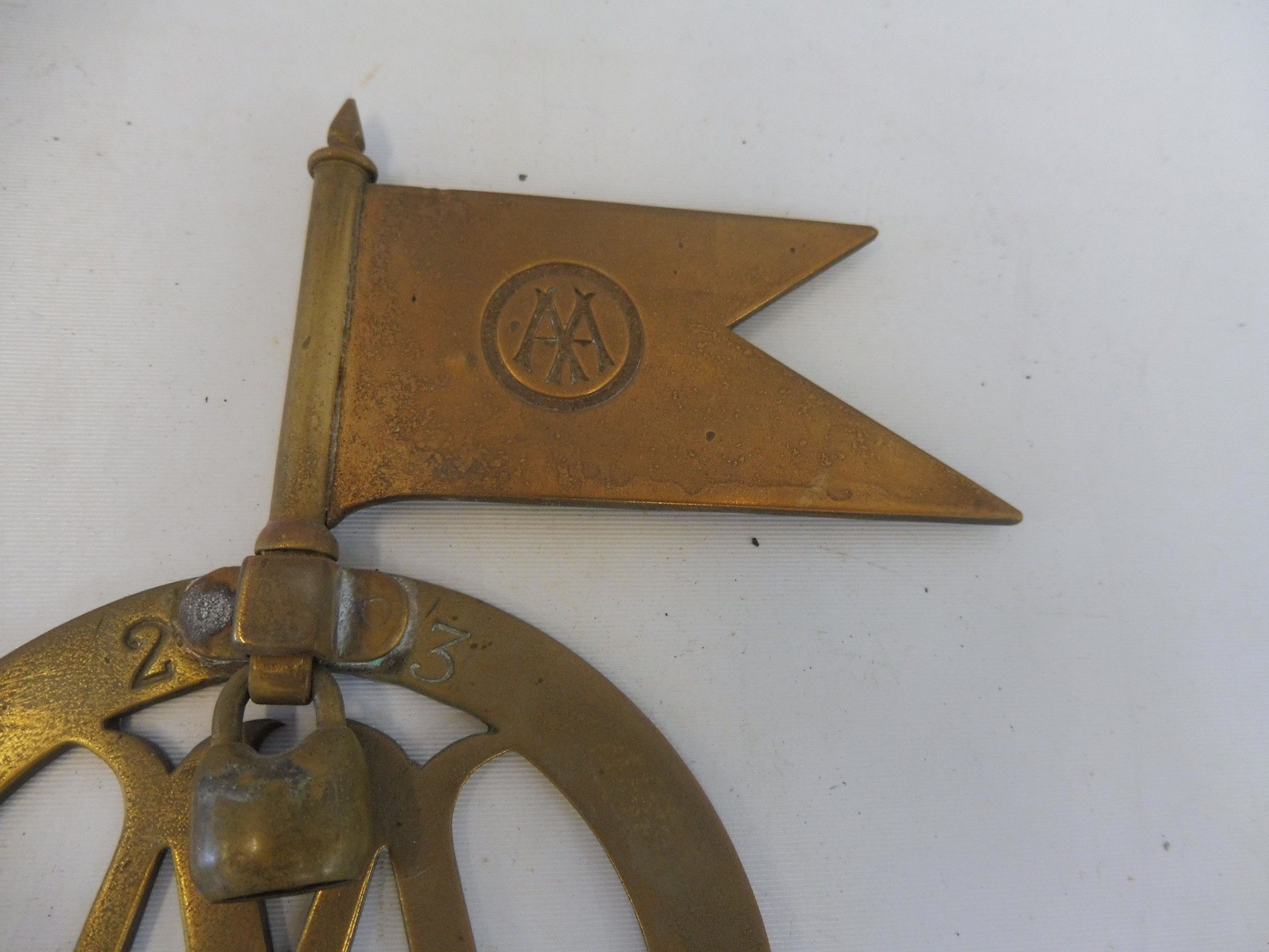 A very rare AA committee member Stenson Cooke badge, brass, with the highly unusual feature of - Image 2 of 3