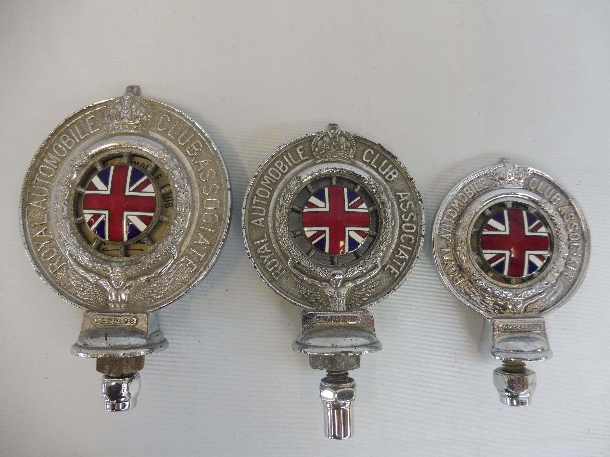 A graduated set of three Royal Automobile Associate car badges, all mazak metal with good enamel