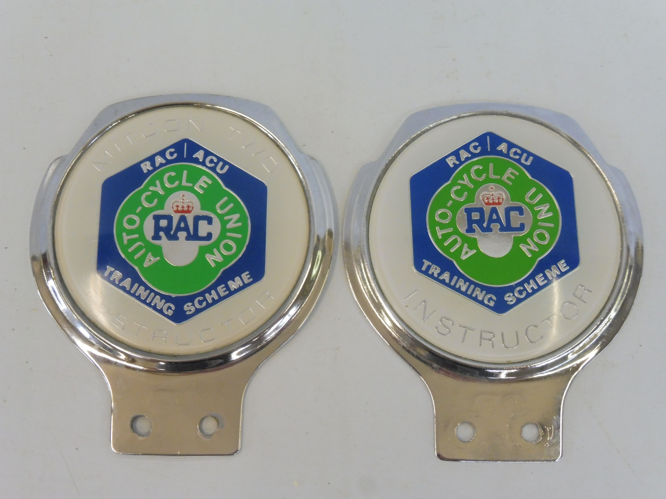 Two RAC Auto-Cycle Union Training Scheme Instructor's badges, type 2 and Regional 2.
