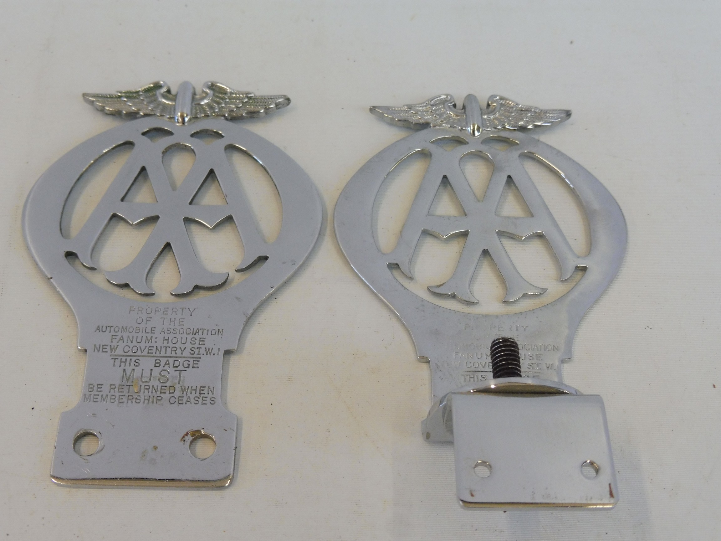 An AA car badge, stamped 03933, circa 1930, beginning of the re-numbering, chrome plated brass, plus - Image 2 of 2
