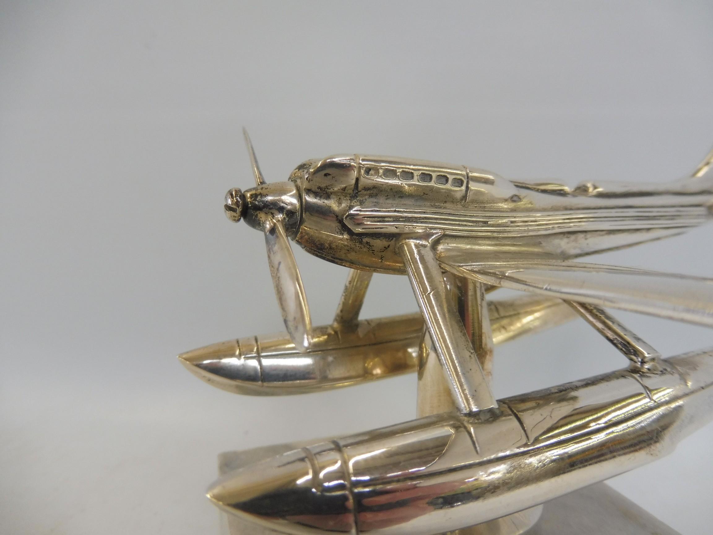 A Schneider Trophy seaplane supermarine mascot, nickel plated, inscribed 'Rolls-Royce' under one - Image 2 of 6