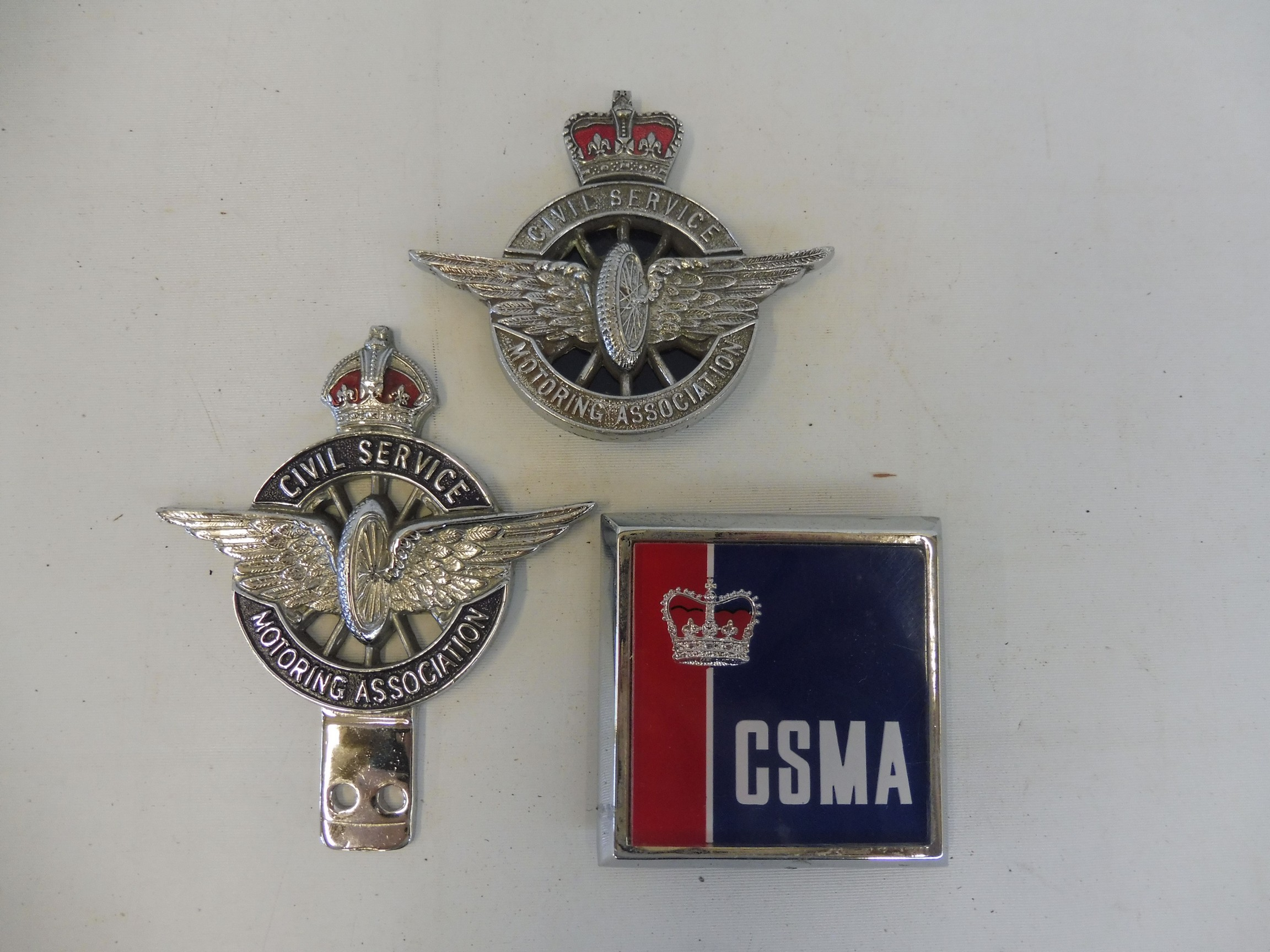 A Civil Service Motoring Association Series type 3 car badge, circa 1930s, chrome plated brass and