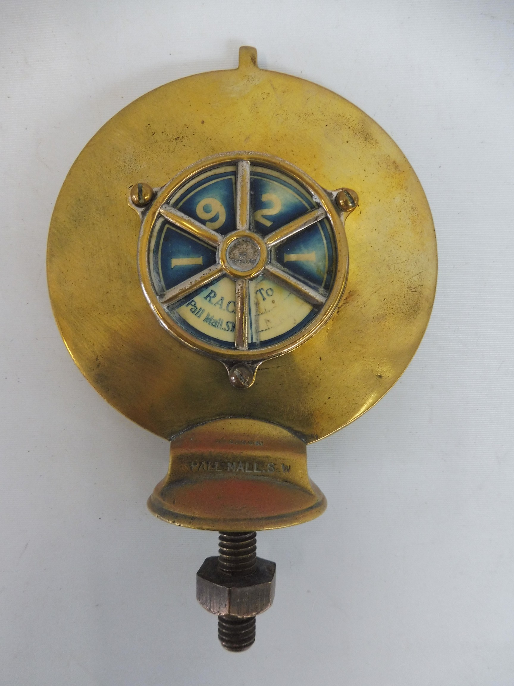 A Royal Automobile Club Associate car badge, polished brass with excellent enamel union jack centre, - Image 2 of 2