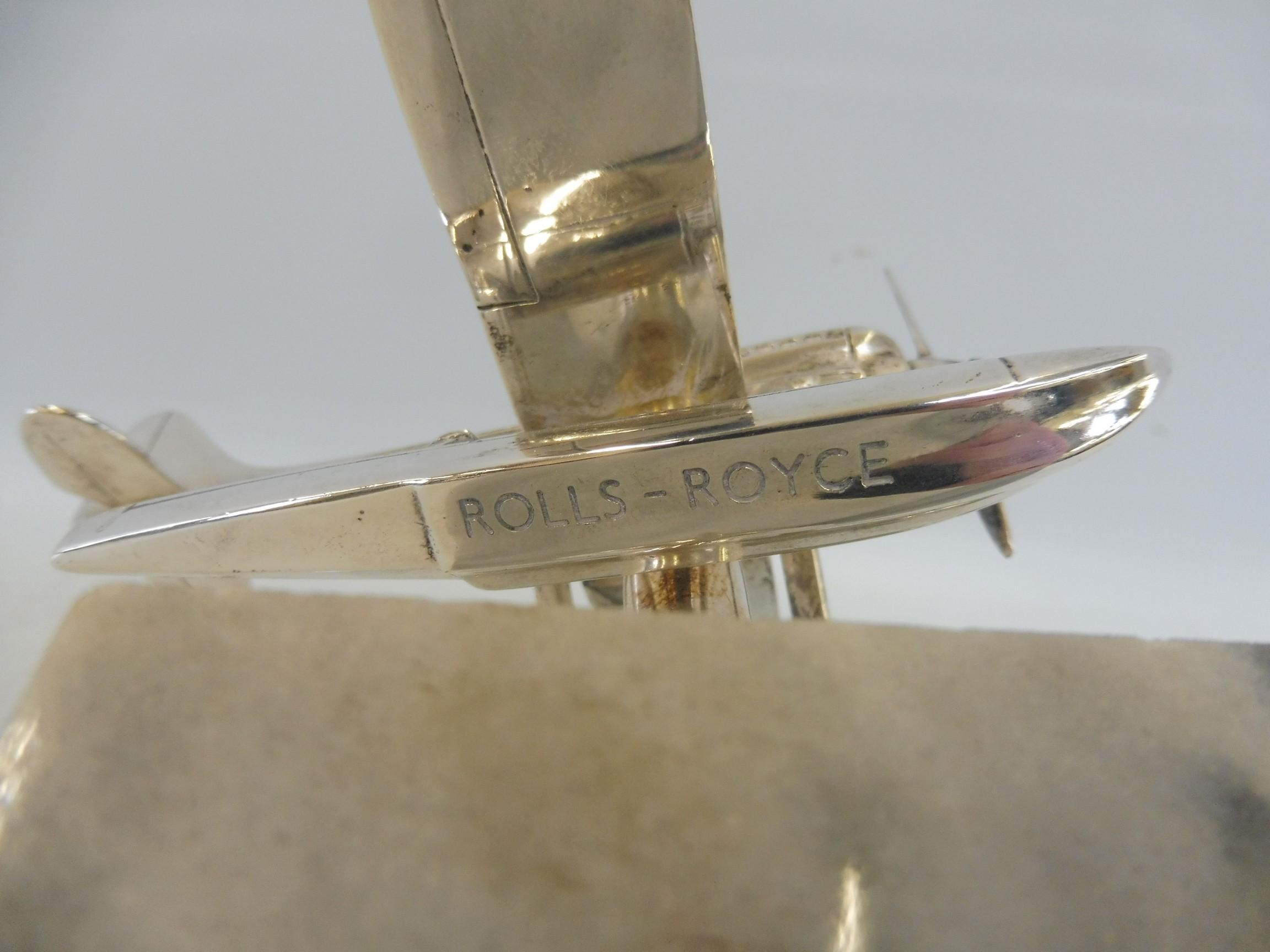 A Schneider Trophy seaplane supermarine mascot, nickel plated, inscribed 'Rolls-Royce' under one - Image 5 of 6