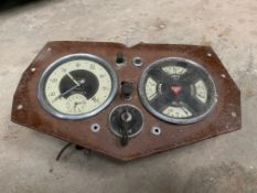 An Alvis instrument dash with instruments still fitted, possibly 12/70 or 14hp.