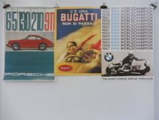 A BMW Archive 1999 reproduction poster, a second for Porsche and a third for Bugatti.