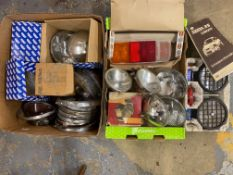 Two boxes of mostly new old stock sealed beam units, Wipac, Lucas etc, spot lamps and a Ford