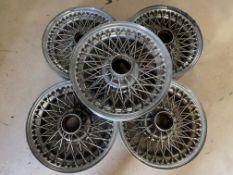 """A set of five 16"""" diameter chrome wire wheels to suit Jaguar E type"""