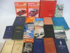 A box of assorted motoring volumes including The Institution of Automobile Engineers, session 1913-