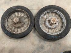Two pre-war BSA car wire wheels.