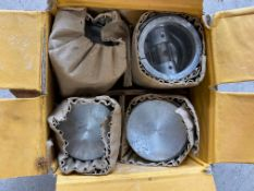A set of four Hepolite Austin 7 pistons, appear new old stock, RS 7682 +30.