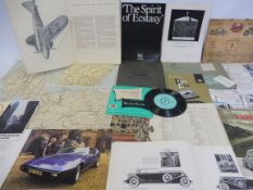 A selection of assorted motoring literature including a 1950s Petrol Saving Vauxhall brochure,