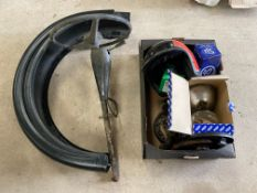 A box of various parts to include Wipac sealed bean units, an Austin steering column and a pair of