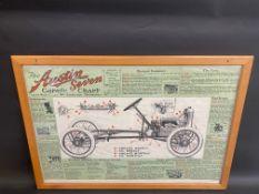 """An Austin 7 Garage Chart, 35 x 24 3/4""""."""