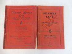 A Matchless motorcycles 'Super Clubman' spares list, edition CL-12, 1950 plus a Master Spares List
