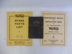 A Norton motorcycle maintenance manual and instruction book to suit models 16H, Big4, 18 and ES2,