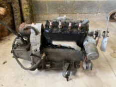 An Austin 7 magneto engine and gearbox, bearing label that it was rebuilt, probably in the 1970s.