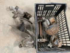 A crate of Alvis Silver Eagle and Silver Crest parts including fan/water pump.