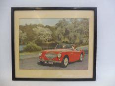 "A framed and glazed colour illustration of an Austin-Healey 100/4 Reg no NOJ 389, 12 1/2 x 10 3/4""."