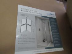 1x Splash Panel 2 sided shower wall kit in SANDSTONE, new and boxed, the kit contains 2 1200x1200