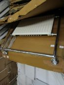 Flox chrome towel radiator, item is unchecked and may contain marks, cosmetic damage and more.