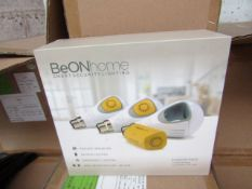 BeOn Home intelligent bulb starter pack, new and boxed. Features: 3 Smart modules, 3 LED bukbs 10w