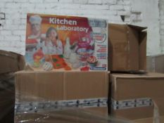 Pallet of approx 120 Kitchen Laboratory Science and Play sets, still sealed, BB 01/5/19