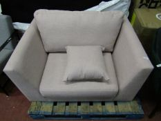 | 1X | SWOON PINK LOVE SEAT | HAS MINOR MARKS AND THE BOTTOM FABRIC IS TORN AND MISSING IN PLACES,