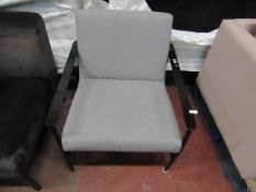 | 1X | MADE.COM BLACK FRAME CHAIR WITH CUSHION | LOOKS UNUSED BUT LEGS BENT (NO GUARANTEE) | RRP