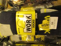 9 X Pairs of Mens Work Socks Size 6-11 New in Packaging
