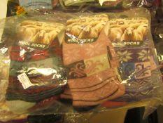 12 X Pairs of Ladies Lambs Wool Socks Size 4-7 New in Packaging