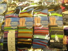 12 X Pairs of Mens Design Socks Size 6-11 New in Packaging