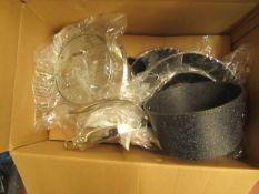 Rock Pan Set. Incl 5 Pans & 3 Glass Lids. New & Boxed