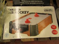 Asab Tabletop Air Hockey. Boxed but unchecked